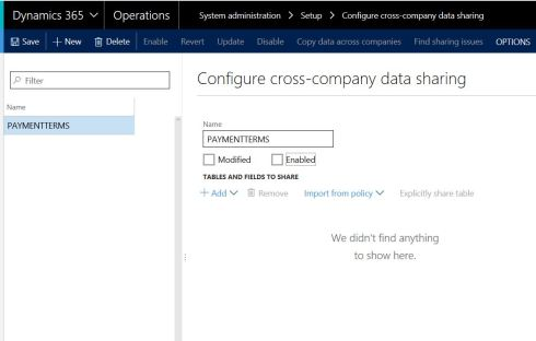 Dynamics 365中的跨公司数据共享 / Cross Company Data Sharing in Dynamics AX 365