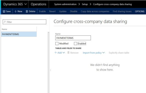 Cross company data sharing in Dynamics 365 for Operations